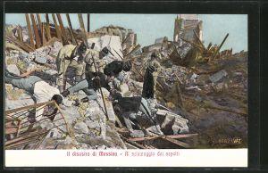 AK Messina, Trümmer nach einem Erdbeben, Al salvataggio dei sepolti