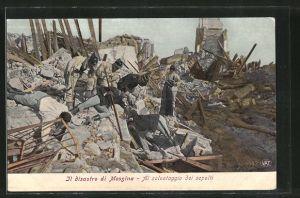 AK Messina, Il disastro, Al salvataggio dei sepolti, Erdbeben