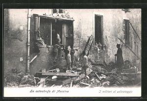 AK Messina, Zerstörungen nach Erdbeben, I militari al salvataggio