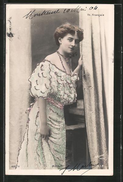 Glitzer-Perl-Foto-AK Atelier Reutlinger, Paris: Pierat, Frau im Kleid mit Glitzer-Perlen
