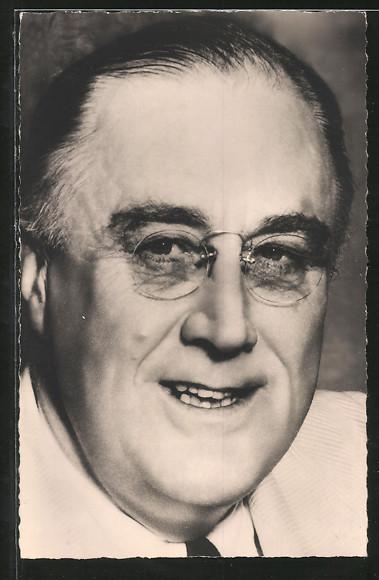 AK Franklin D. Roosevelt, Präsident der USA, Portrait mit Brille
