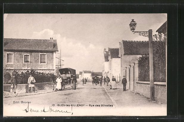 AK Isles-les-Villenoy, Rue des Olivettes, Pferdegespann