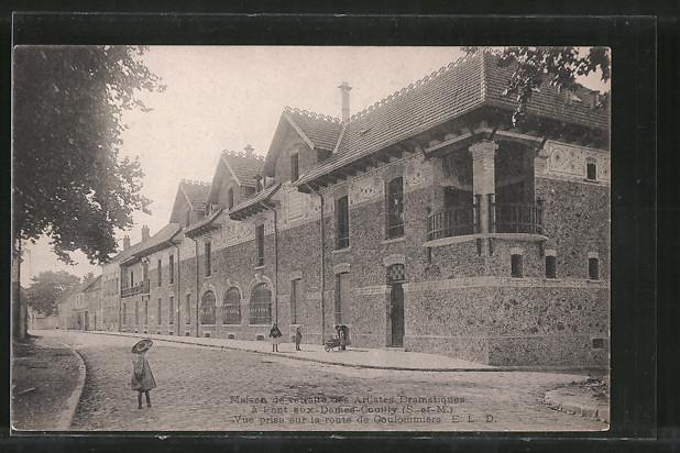 AK Couilly-Pont-aux-Dames, Maison de retraite des artistes dramatiques, vue prise sur la route de Goulommiers