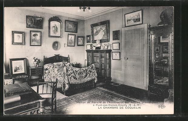 AK Couilly-Pont-aux-Dames, Maison de retraite de l'association des artistes dramatiques, la chambre de coquelin