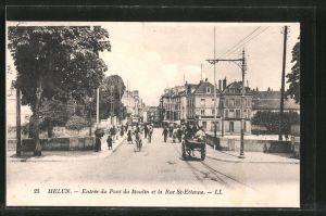 AK Melun, Entrée du pont du Moulin et la rue St-Etienne, Pferdegespann