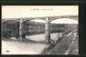AK Melun, Le pont du Mée, Angler
