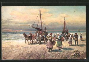 Künstler-AK Fischer ziehen ihre Boote an Land