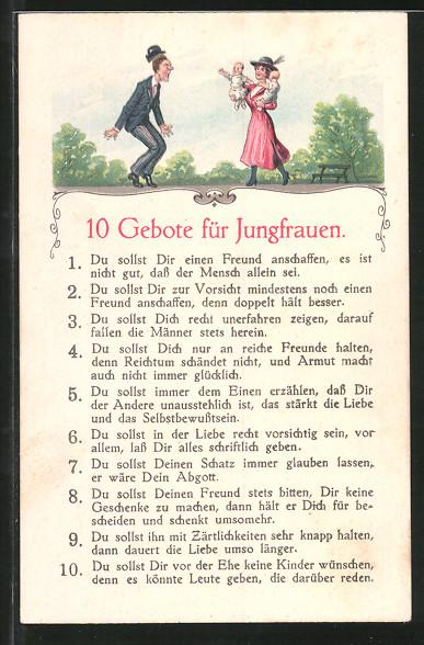 AK 10 Gebote der Jungfrauen, Humor