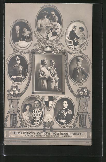 AK 25 jährig. Regierungsjubiläum, Deutschlands Kaiserhaus, Prinz Oskar von Preussen, Prinz Joachim, Prinz Adalbert