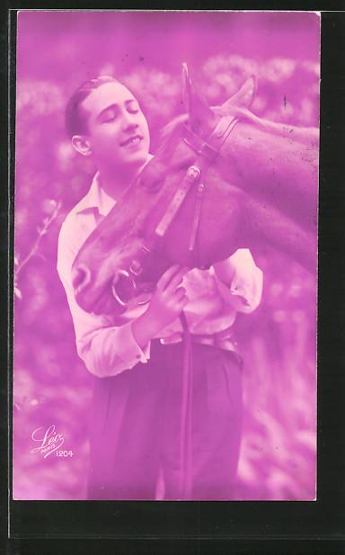 Foto-AK Leo, Paris Nr. 1204: Reiter mit seinem Pferd