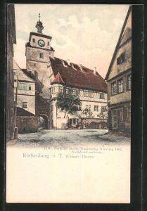 AK Rothenburg, Strassenpartie am weissen Turm