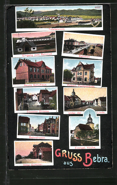 AK Bebra, Bahnhof, Bahnstrasse, Hotel Schlüter
