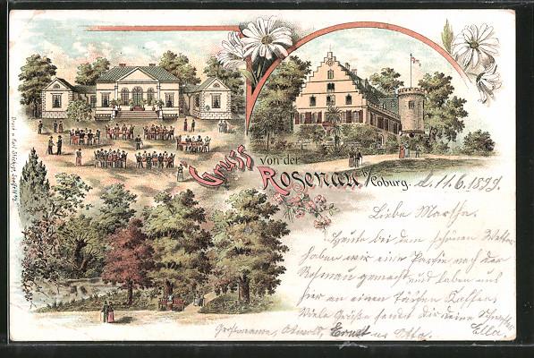 Lithographie Oeslau, Gasthaus Schloss Rosenau mit Gartenlokal, Partie am Schloss