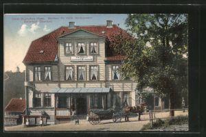 AK Zellerfeld, Hotel Deutsches Haus v. F. Schünemann, Pferdekutsche