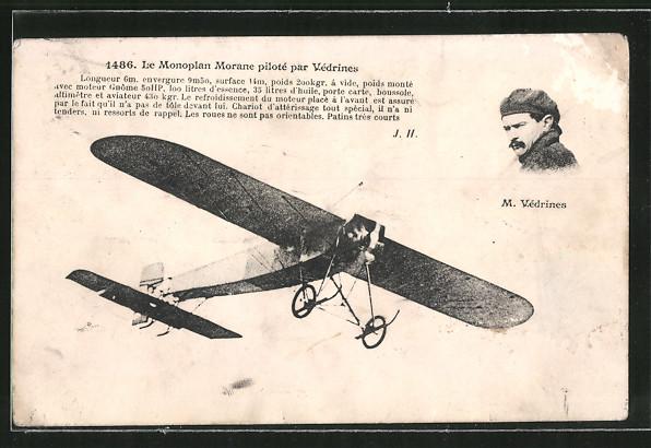AK Le Monoplan Morana piloté par Védrines, Flugzeug, Eindecker