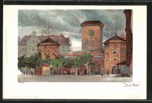 Künstler-Lithographie Heinrich Kley: München, Partie am Isarthor