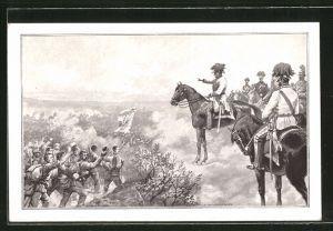 Künstler-AK C. Benesch: Soldaten passieren Kaiser Franz Joseph