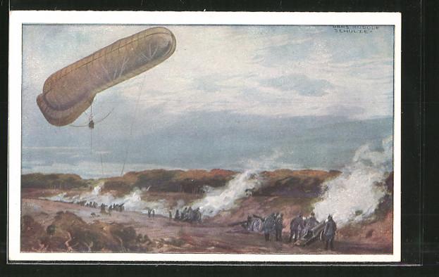 Künstler-AK Hans Rudolf Schulze: Fesselballon, unsere Artilleriewirkung beobachtend, Deutscher Luftflottenverein