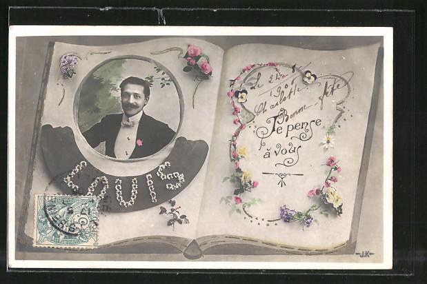 AK Namenstag Louis, Buch mit einem Männerporträt