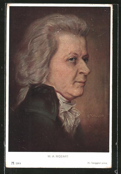 Künstler-AK Hermann Torggler: Portrait des Komponisten W. A. Mozart