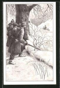 Künstler-AK C. Benesch: Bei Sturm und Wetter, in eisiger Nacht..., Infanterie-Patrouille