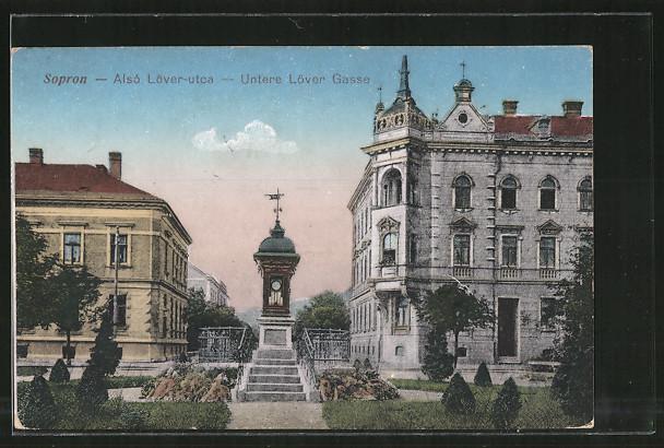 AK Sopron-Ödenburg, Alsó Löver-utca, Untere Löver Gasse mit Wettersäule