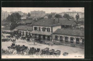 AK Tunis, la Place et la Gare du Sud, Süd-Bahnhof