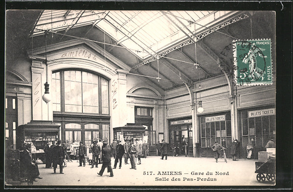AK Amiens, Gare du Nord, Salle des Pas-Perdus, Nord-Bahnhof