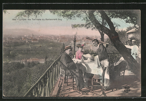 AK Lyon, La terrasse du restaurant Gay, Fernrohr