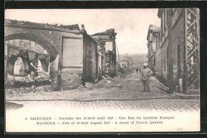 AK Salonique, Incendie / Brand vom 18.-20.8.1917, une Rue du Quartier Franque