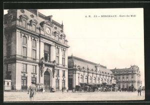 AK Bordeaux, Gare du Midi, am Bahnhof