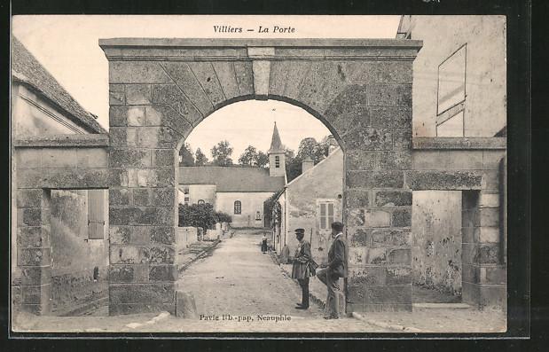 AK Villiers, la Porte, Tordurchblick zur Kirche