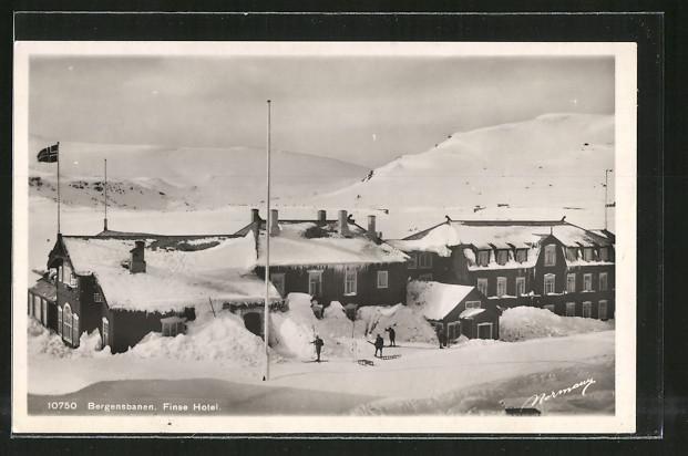 AK Finse, Hotel im Winter, Bergensbanen