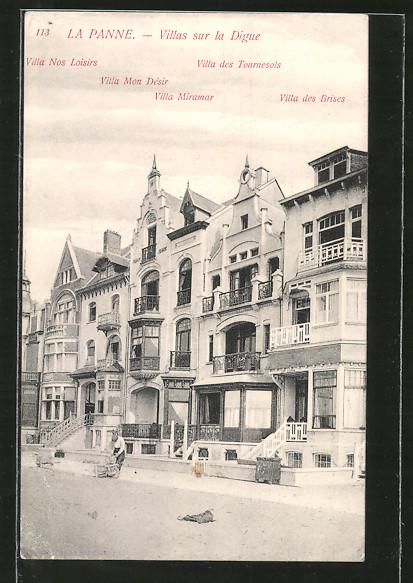 AK La Panne, Villas sur la Digue, Villa Mon Desir, Villa Miramar & Villa des Brises