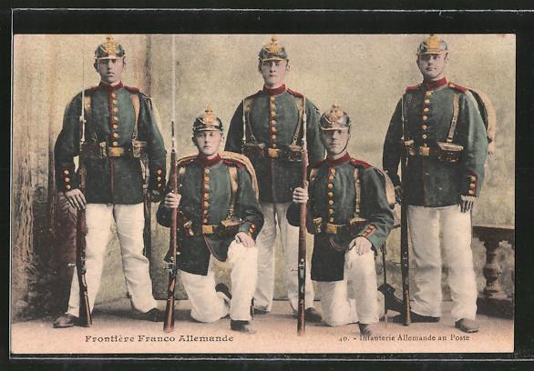 AK Frontière Franco-Allemande, Infanterie Allemande au Poste, Infanterie an der Grenze