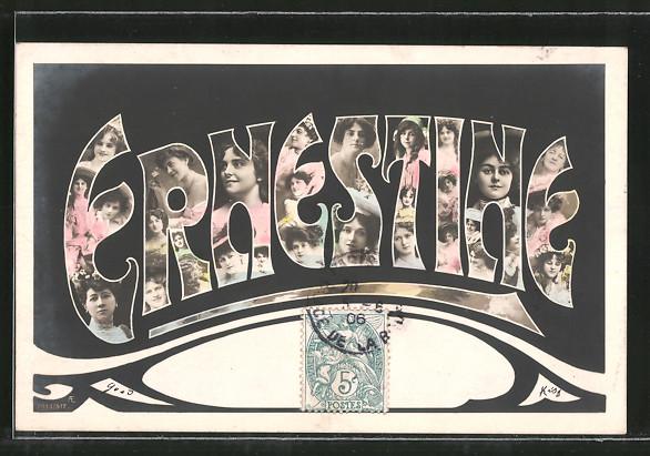Fotomontage-AK Namenstag Ernestine, Buchstaben mit Damenportraits 0