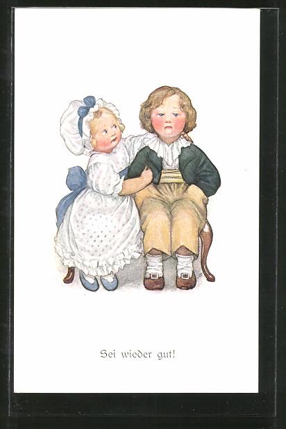 Künstler-AK Susan Beatrice Pearse: Sei wieder gut!, Kleines Liebespaar
