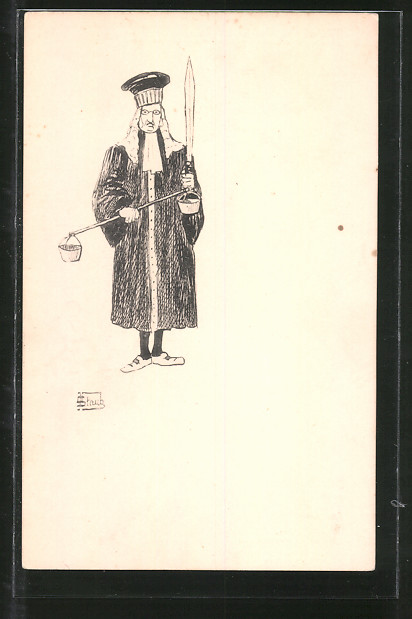 Künstler-AK Richter mit Schwert und Waage