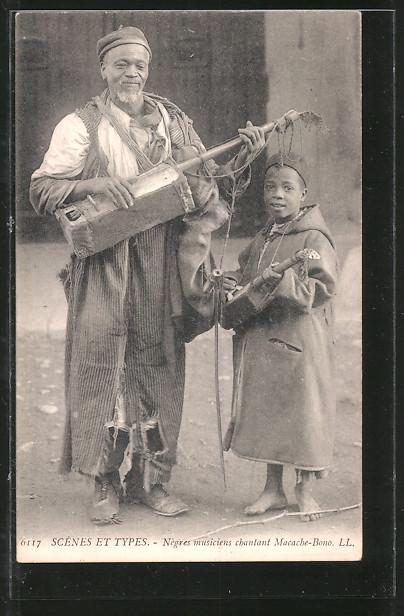 AK Négres musiciens chantant Macache-Bono, Afrikanische Musiker, in Lumpen gekleidet
