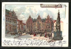 Glitzer-Perl-Lithographie Bremen, Roland am Marktplatz mit Glitzer-Perlen