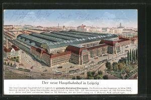 AK Leipzig, Der neue Hauptbahnhof, Fliegeraufnahme