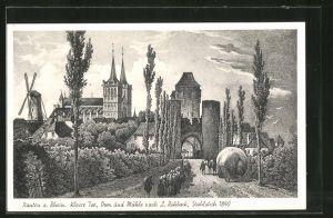 AK Xanten, historische Ansicht mit Klever Tor, Dom und Mühle um 1840