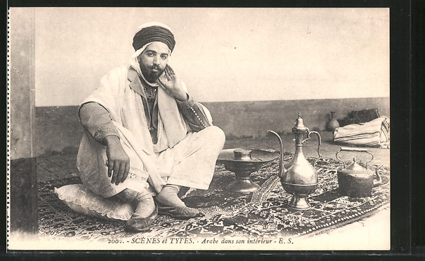AK Arabe dans son interieur, Araber mit Teeservice Nr. 7148394 ...