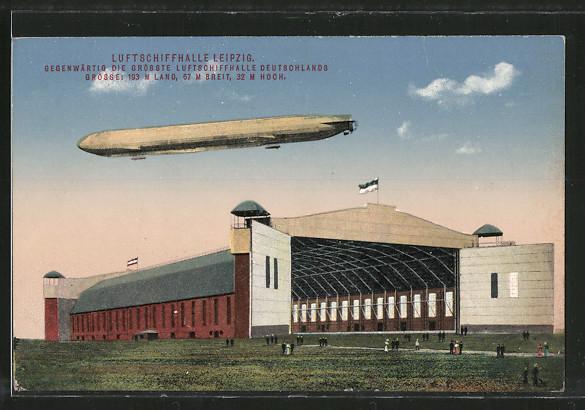 AK Leipzig, Luftschiffhalle mit Zeppelin