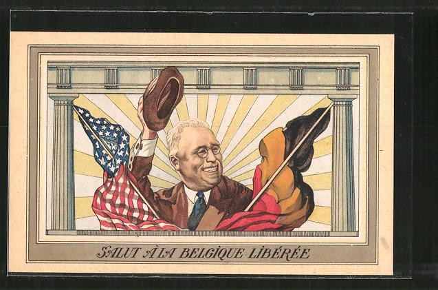 AK Salut à la Belgique Libérée, Roosevelt, Präsident der USA