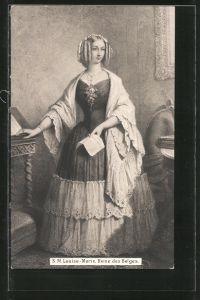 AK Louise-Marie, Reine des Belges, Portrait der Königin von Belgien