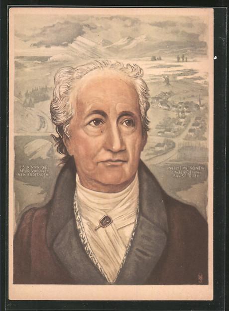 Künstler-AK Goethe, Portrait des Schriftstellers und Philosophen