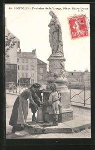 AK Pontoise, Fontaine de la Vierge, Place Notre Dame
