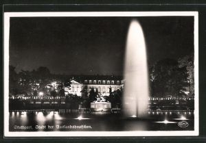 AK Stuttgart, Anlagensee mit Neuem Schloss bei Nacht