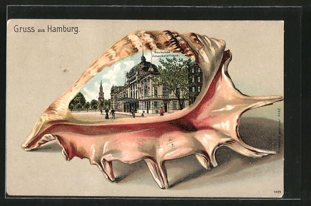 Passepartout-Lithographie Hamburg, Deutsches Schauspielhaus in einer Muschel